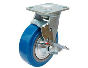 Swive PU Caster with Side Brake (Blue)