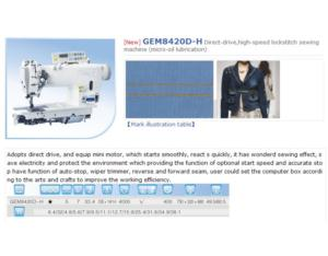 GEM8420D-H Direct-drive,high-speed lockstitch sewing machine (micro-oil lubrication)