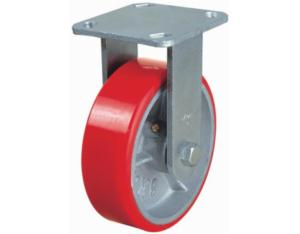 Fixed PU on Cast Iron Caster (Red)