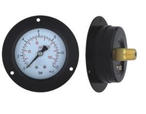 Black Steel Case Pressure Gauge with Flange (B-0015)