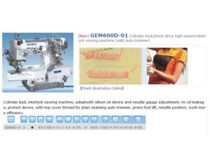 GEM600D-01 Cylinder-bed,Direct-drive high-speed interlock sewing machine (with auto trimme