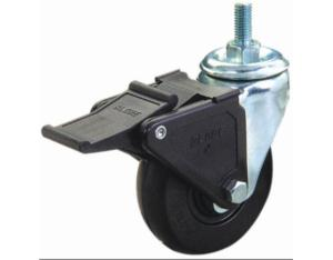 Threaded Stem Rubber Caster with Nylon Brake(Black)