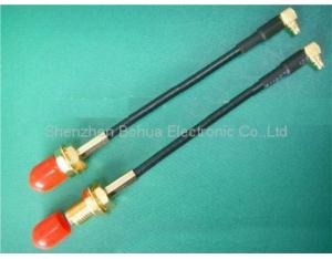 SMA Female Bulkhead to MMCX Male Right Angle (RF Coaxial Pigtail Cable)