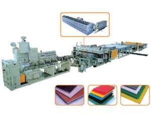 PC,PP,PE,and PVC Plastic Hollow Cross Section Plate Extrusion Line