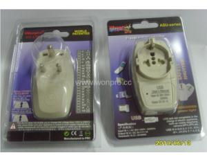 India Plug Adapter (Grounded) With USB Charger (wasdbgfu-10)