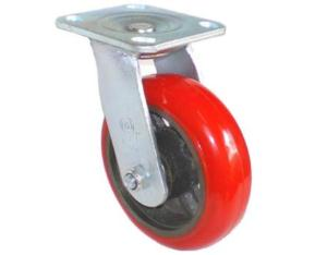 EH07 Swivel PU on Cast Iron Caster (Bright Red)