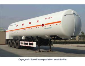 Cryogenic liquid transportation semi-trailer