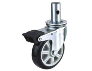 EG02 Bole Stem PU Caster With Dual Brake (Black)
