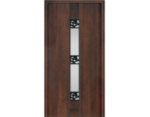 Solid Wood Door (NTA-3PC-1G)( With Nature Wood Veneer)