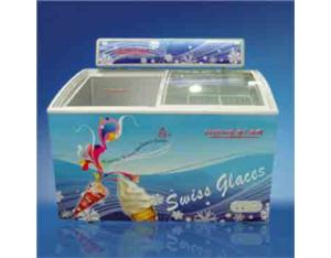 258L/308L Glass Curved Door Chest Freezer with Lamp Box