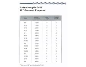 Extra length Drill 12