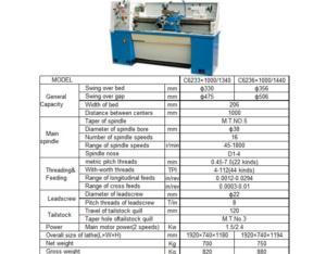 Precision Gearhead Lathe C6233×1000(1340) C6236×1000(1440)