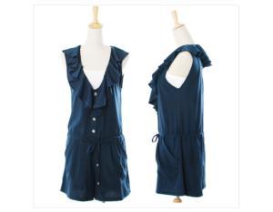 FAVORITE Korean version of sweet and refreshing flounced pumping waist shorts jumpsuit