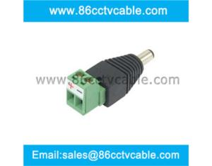 DC male Plug with Plug-In Screw Terminal Block for wires