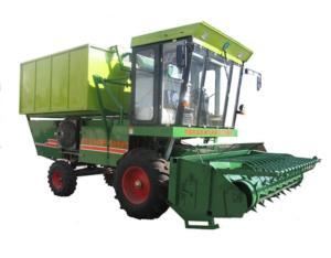 Self-propelled cotton stalk combine harvester