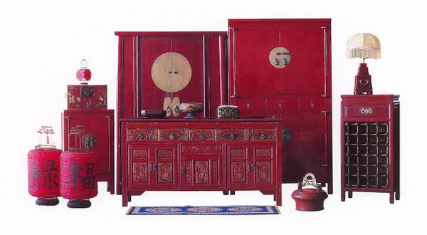 Oriental style chinese antique furniture red group for Red chinese furniture