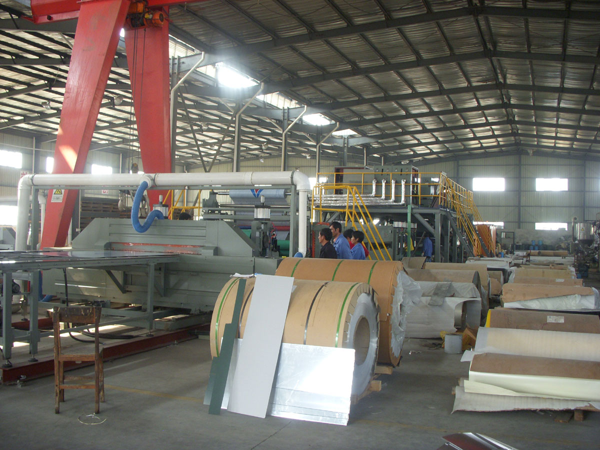 Aluminum Composite Panel Manufacturers : Aluminum plastic composite panel manufacturing line