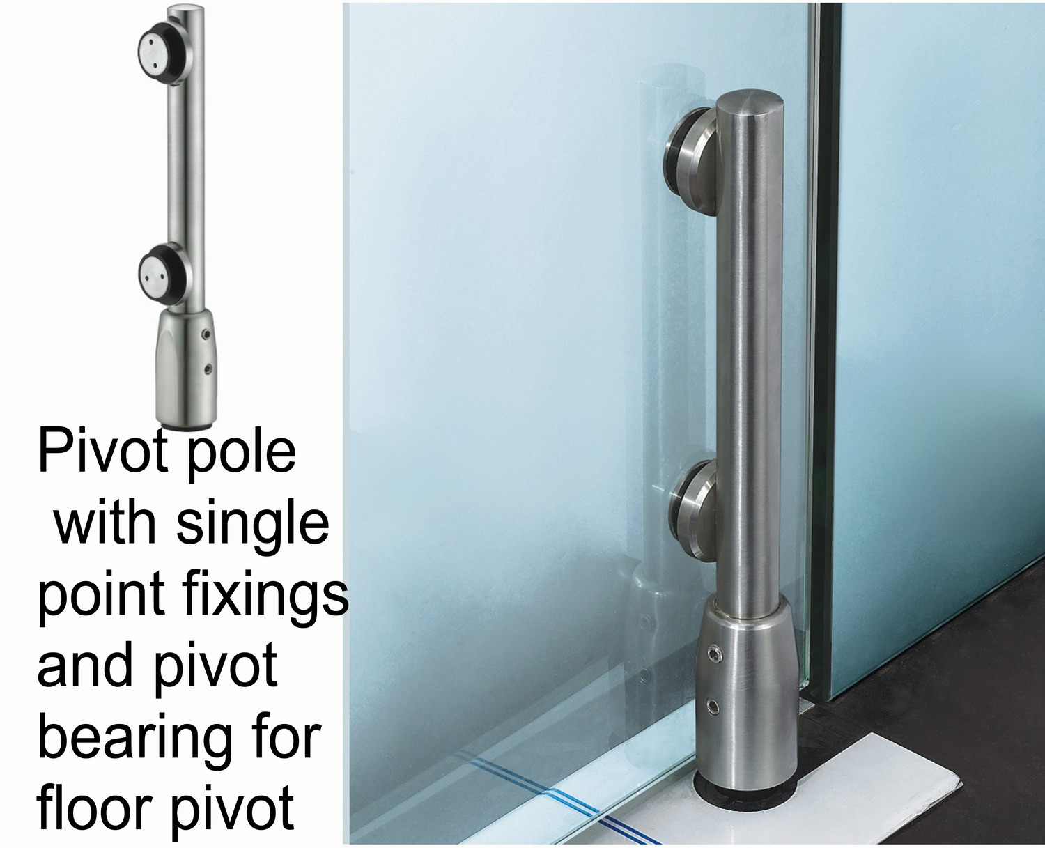 Glass Fitting Pivot Pole 9100c 3