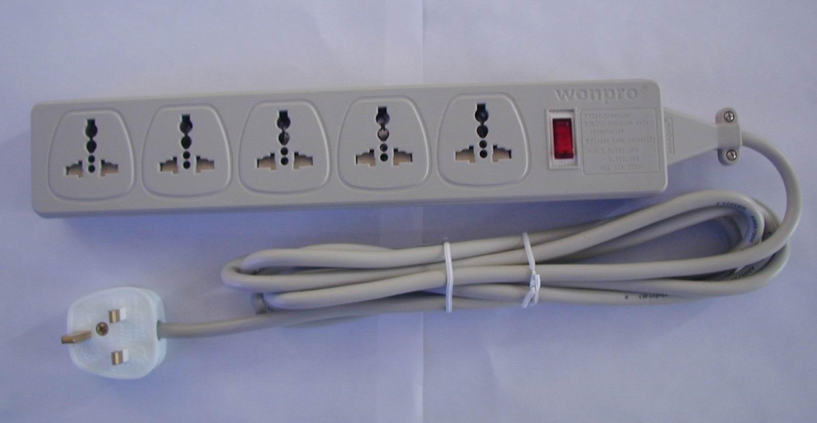 universal outlet power strip w uk cable. Black Bedroom Furniture Sets. Home Design Ideas