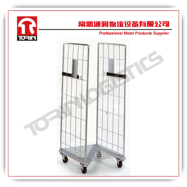 folding supermarket warehouse storage metal roll cage containers